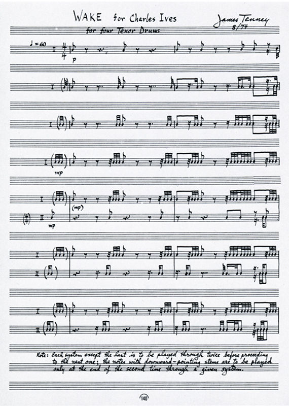 Drum composition: Wake for Charles Ives, James Tenney